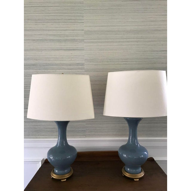Image of Vintage Blue Ceramic Gold Based Lamps - a Pair