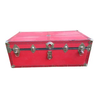 Antique Red Steamer Trunk