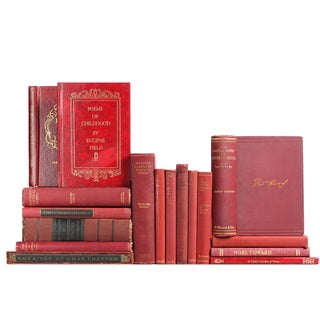 Distressed Red Poetry Books - Set of 17