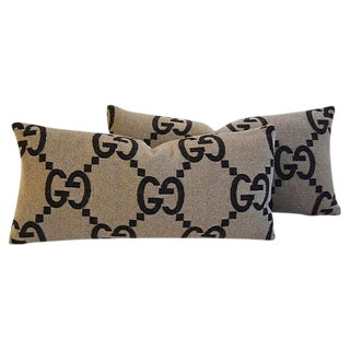 """23"""" X 11"""" Custom Tailored Gucci Cashmere & Velvet Feather/Down Pillows - Pair"""