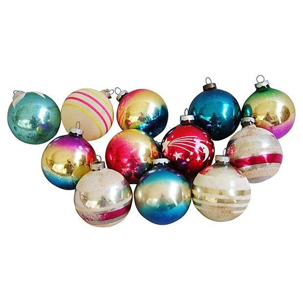 1960s Bright Christmas Ball Ornaments - Set of 12 - Image 1 of 5