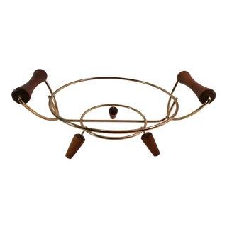 Mid-Century Modern Brass & Wood Casserole Stand