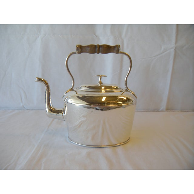 Image of Antique Silverplate Copper Tea Kettle