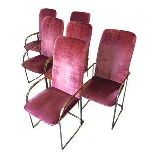 Milo Baughman Brass Dining Chairs - Set of 6