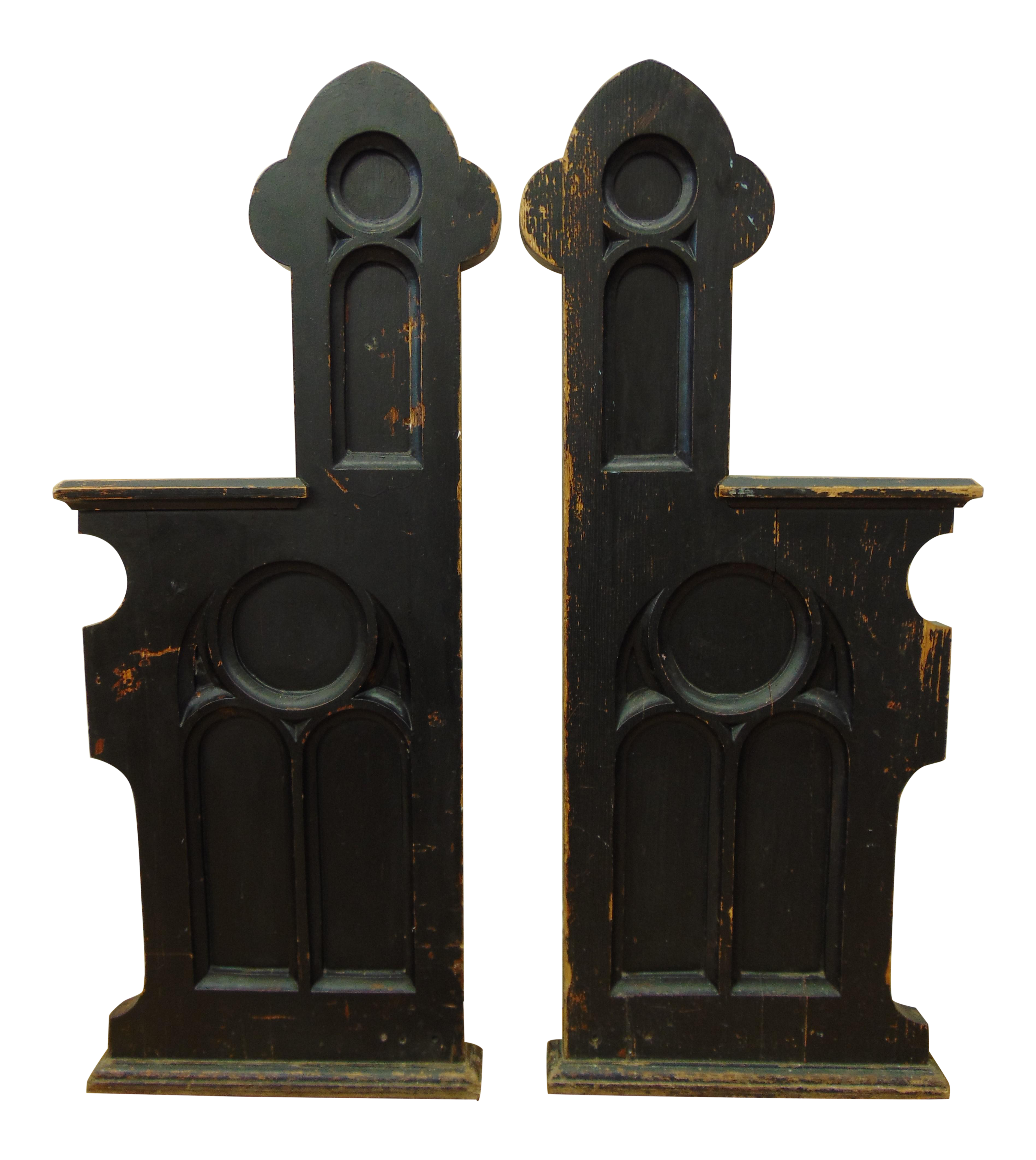 Antique Gothic Revival Church Pew Ends - A Pair