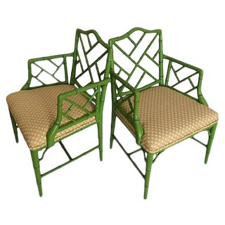 Faux Bamboo Upholstered Arm Chairs - A Pair