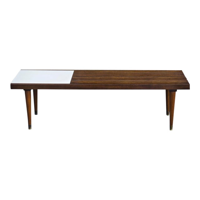 Mid-Century Slat Bench Coffee Table - Image 1 of 4