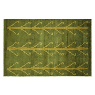 Green Gabbeh of Life Hand-Knotted Rug - 4'' x 6''
