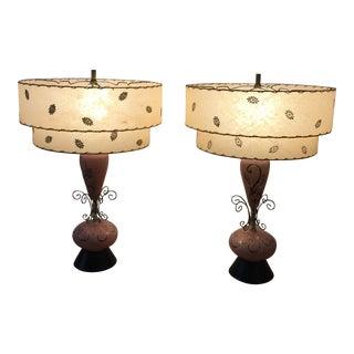 Ceramic Atomic Mid-Century Lamps - A Pair