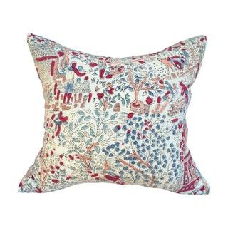 Blocked 1970s Bohemian Tree of Life Textile Pillow
