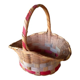 Vintage Straw Easter Basket