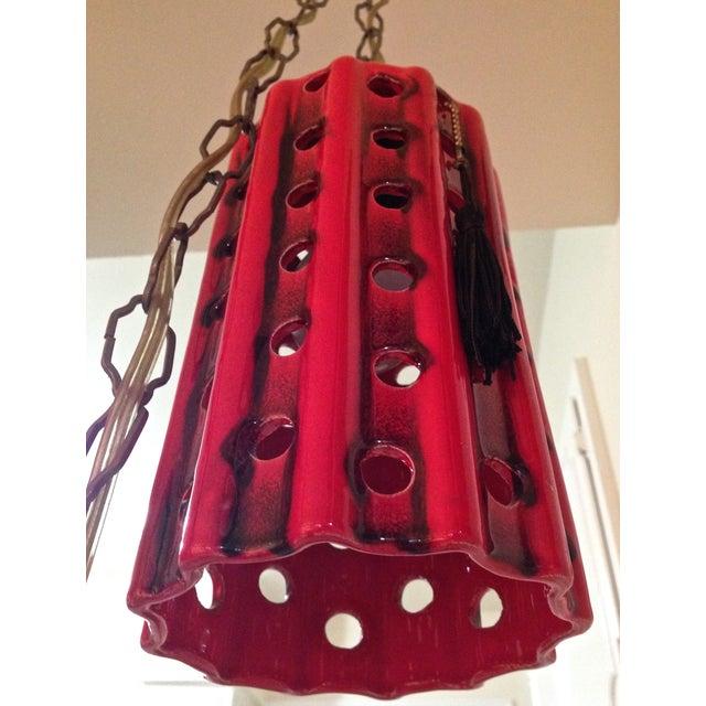 Image of Vintage Pierced Ceramic Pendant Lights - A Pair