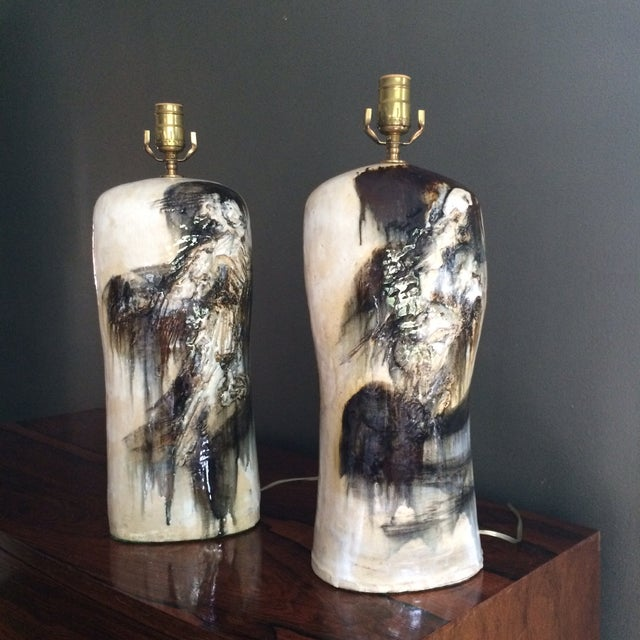 Mid-Century Abstract Pottery Table Lamps - Pair - Image 2 of 4