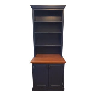 Blue Solid Wood Bookcase Cabinet