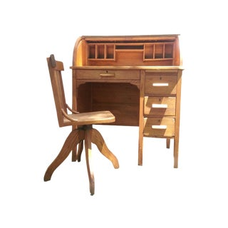 Juvenile Oak Rolltop Desk & Chair
