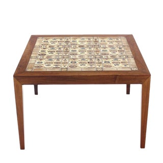 Danish Modern Square Rosewood Coffee Table with Tiled Top