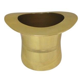 Godinger Mid-Century Polished Brass Top Hat Wine Cooler