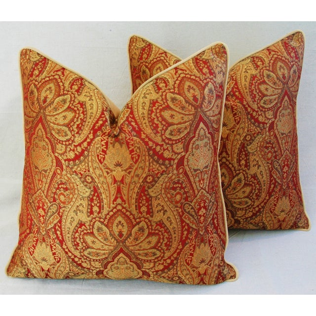 Custom French Jacquard & Velvet Pillows - A Pair - Image 2 of 10