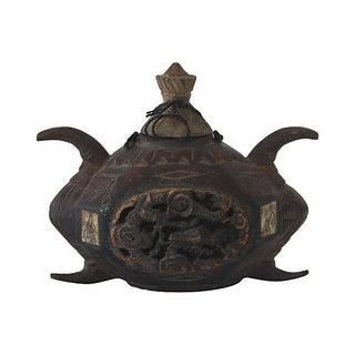 Antique Chinese Carved Wooden Opium Pot