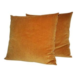Pair of Sunrise Orange Velvet Pillows