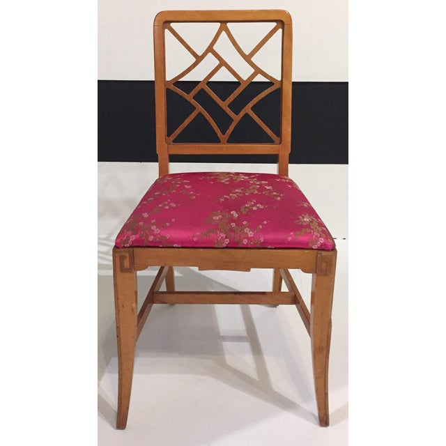 1940's Fretwork Greek Key Side Chair With Asian Upholstery - Image 2 of 9