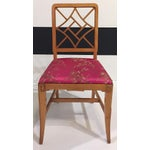 Image of 1940's Fretwork Greek Key Side Chair With Asian Upholstery