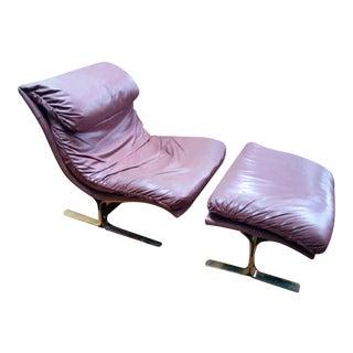 Lane Mid-Century Leather & Brass Lounge Chair & Ottoman
