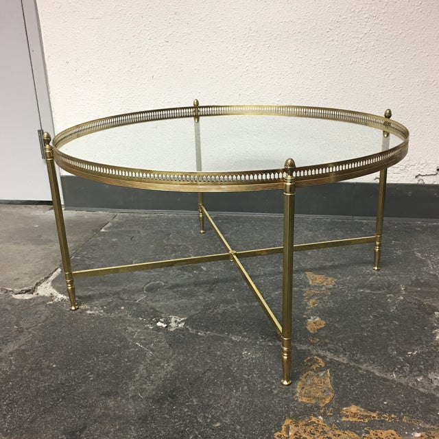 Antique Gold And Glass Coffee Table: Vintage Gold Coffee Table With Glass Top