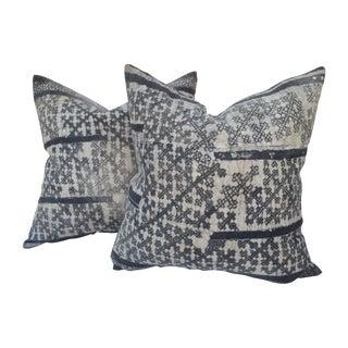 Nubby Silver-Gray Batik Pillows - a Pair