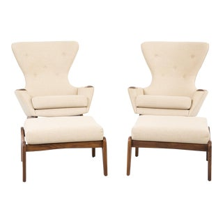 Set of Adrian Pearsall Wingback Chairs + Ottomans