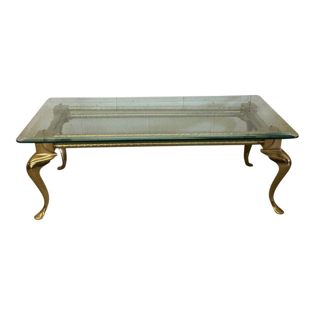 Brass & Glass Cabriolet Leg Coffee Table - Image 1 of 9
