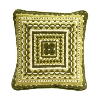 Retro Green Geometric Needlepoint Pillow