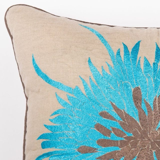 """Image of Blue Bloom Pillow - 20"""" x 20"""""""