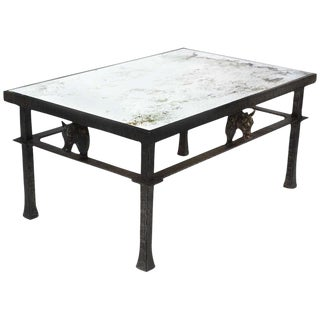 French Vintage Forged Iron & Bronze Coffee Table