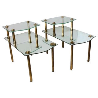 Mid Century Solid Brass Mirrored End Tables