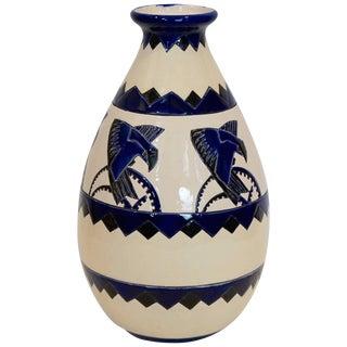 Rare Cobalt and Cream Charles Catteau Vase