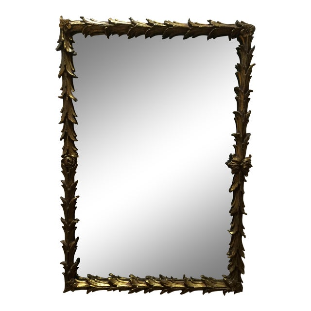 Vintage 1950s Rectangular Gilded Mirror - Image 1 of 8