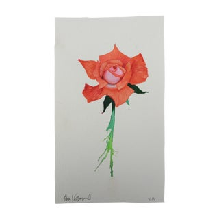 """Orange Crush Rose"" Original Watercolor Painting by Steve Klinkel"