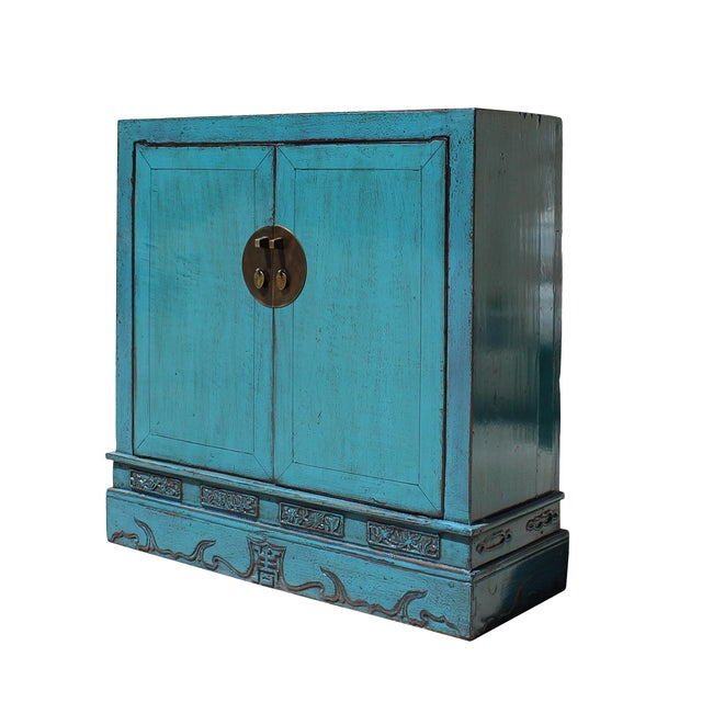 Blue Foyer Cabinet : Chinese distressed rustic blue foyer console table cabinet