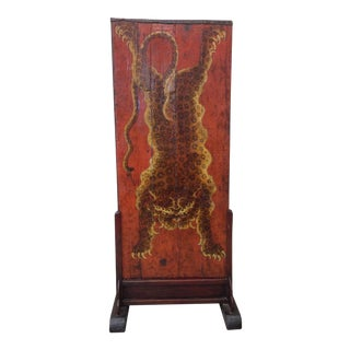 Vintage Hand Painted Tibetan Tiger on Red Wood Door & Stand