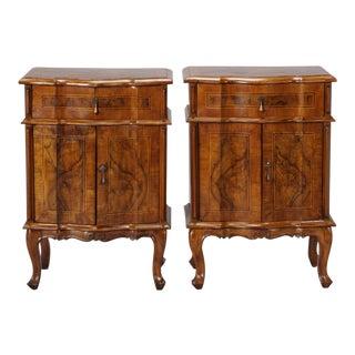 Pair Italian Walnut Side Cabinets