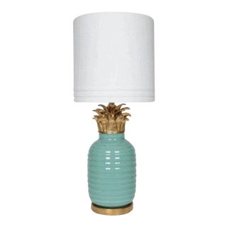 Teal Hollywood Regency Lamp