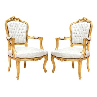 Louis XVI Style White & Gold Fauteuils - A Pair