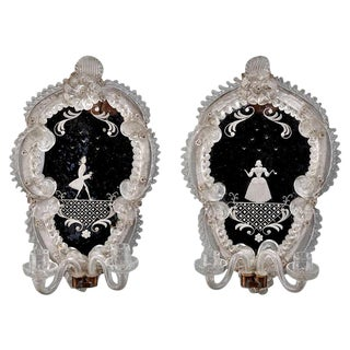 Pair Venetian Mirror Back Wall Sconces with Etched Figures