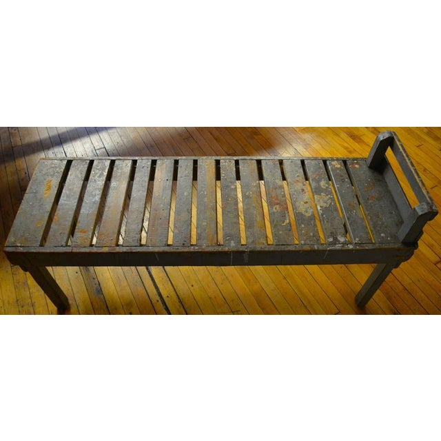 19th C. Wood Bench with Painted-Splatered Slats - Image 4 of 4