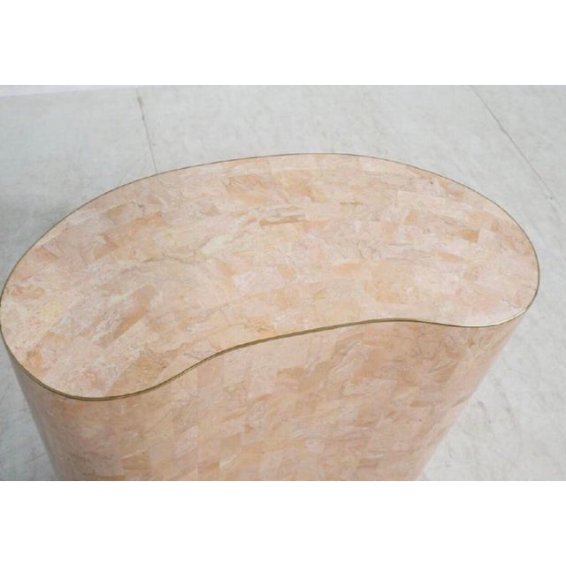 Maitland-Smith Tessellated Pink Marble Kidney Side Table - Image 2 of 6
