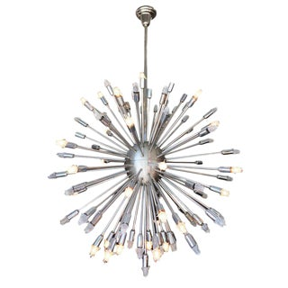 Large 3' Foot Mid Century Style Chrome Multi-Light Sputnik Chandelier
