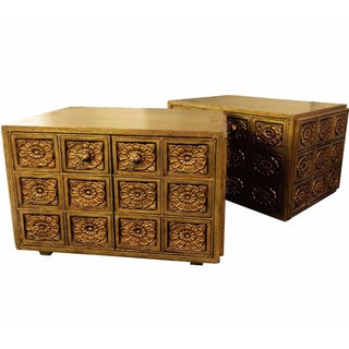Gold Carved Floral Side Tables - A Pair