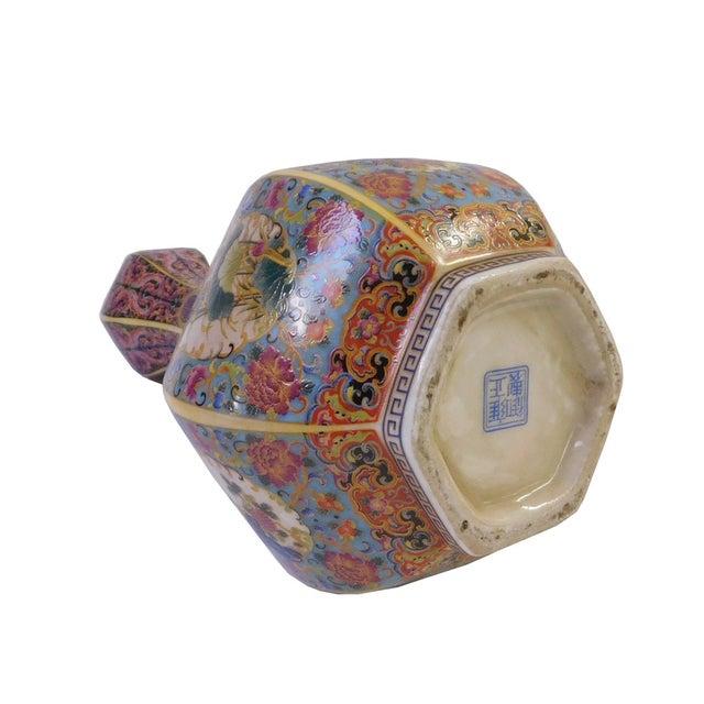 Floral Hexagon Porcelain Vase - Image 6 of 7