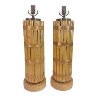 Regency Style Bamboo Lamps - A Pair